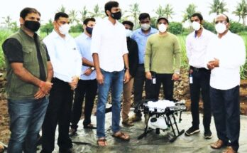 Entrepreneur introduces drone spraying in sugarcane cultivation in Maharashtra